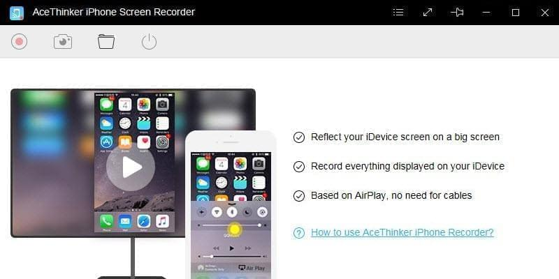 starter interface of iphone screen recorder