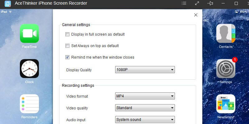iphone screen recorder settings