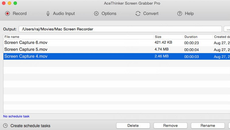 task list of screen grabber pro mac
