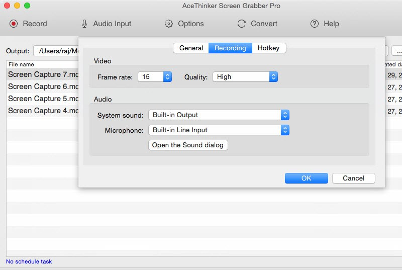 recording settings of screen grabber pro mac