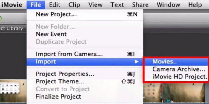 import video to imovie
