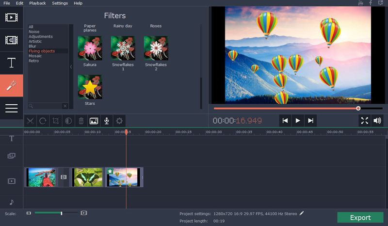 movavi screen recorder interface